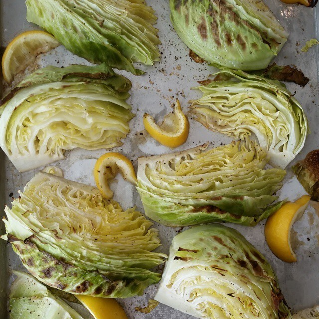 Roasted Lemon-Pepper Green Cabbage Wedges