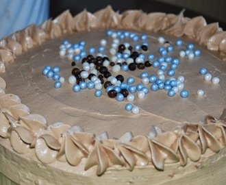 Vanilla and milk chocolate layer cake!!