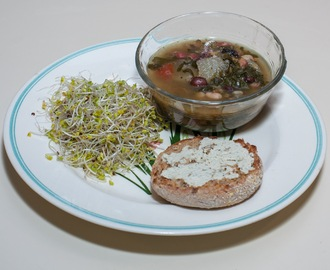 Mixed Bean-Lentil Soup with Spinach, Tomato, and Homegrown Fingerling Potato, served with Broccoli Sprouts and English Muffin Half with Herb-Garlic French-style Vegan Cheese (Almost No Added Fat)