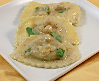 Butternut Squash Agnolotti with Toasted Hazelnut Cream Sauce