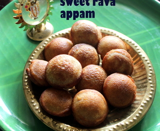 Sweet rava appam recipe – How to make semolina jaggery appam recipe – Krishna Jayanthi recipes