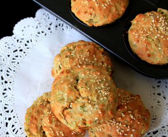 Whole Wheat zucchini spring onion muffin - Zucchini Savory muffin - breakfast recipes - baking recipes - brunch recipe