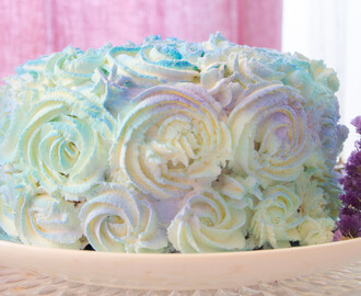 Vanilla-Chocolate Mint Rose Layer Cake