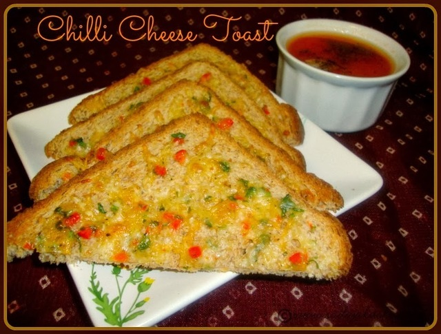 Chilli Cheese Toast Recipe / Cheese Chilli Toast Recipe - Easy Evening Snack For Kids