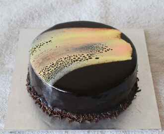 Eggless Leopard Print Mirror Glaze Cake – Vegetarian Version