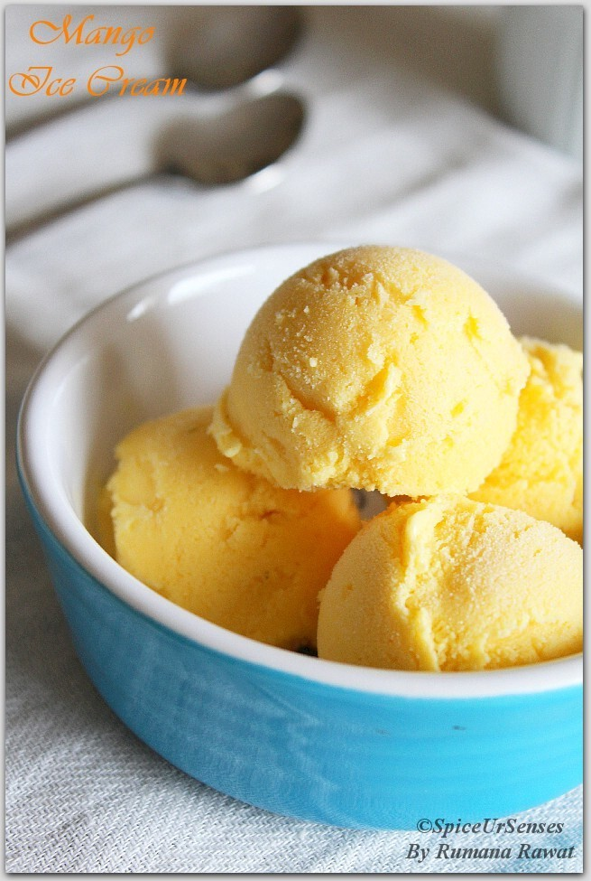 Mango Ice Cream (Home Made without Ice cream Maker)
