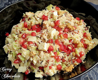 Ensalada tibia de arroz con granada, nueces y feta - Wild rice salad with pomegranate, walnuts and feta