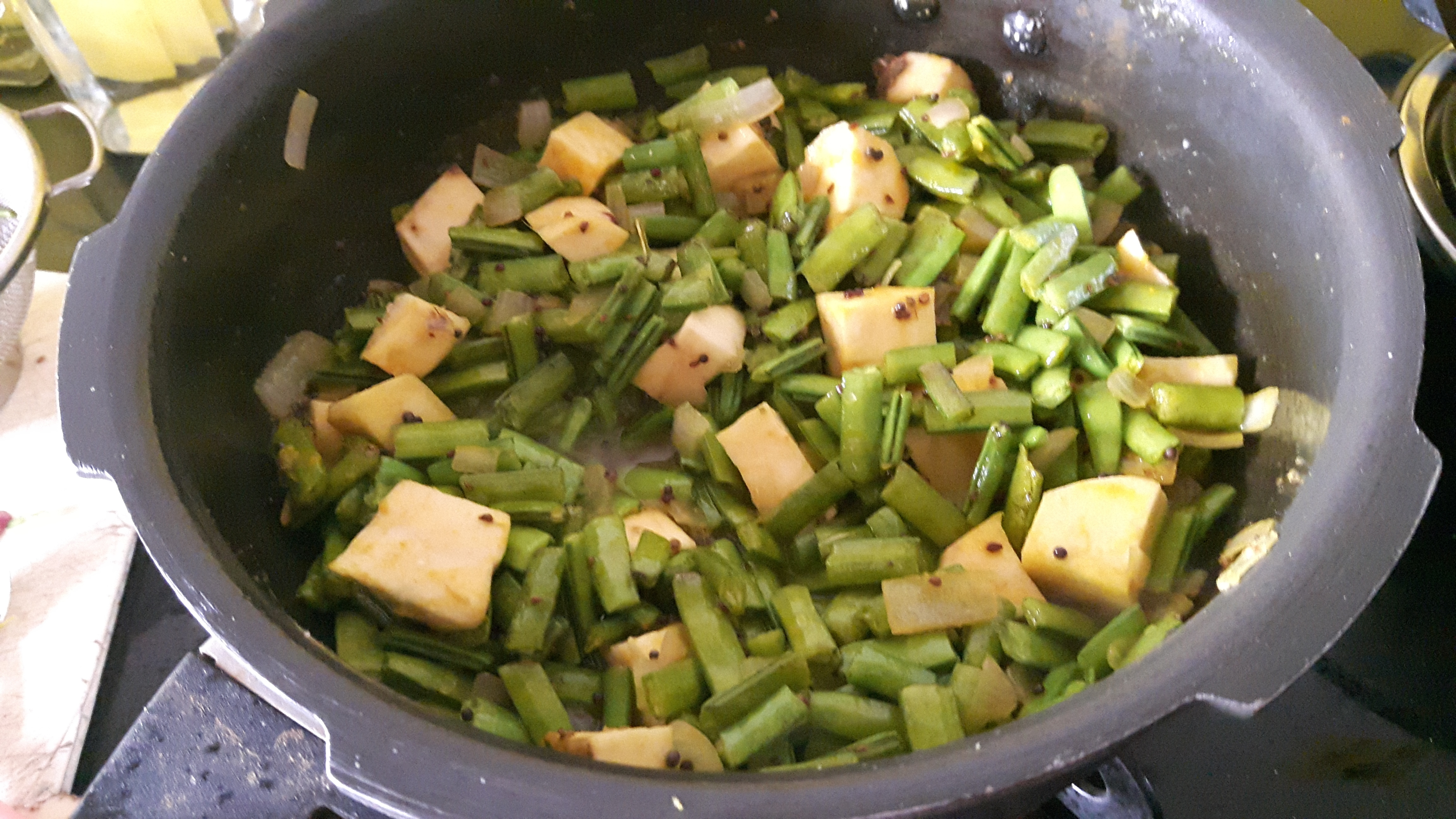 Gavar and Ratalu bhaji (Cluster Beans and Sweet Potato Vege )