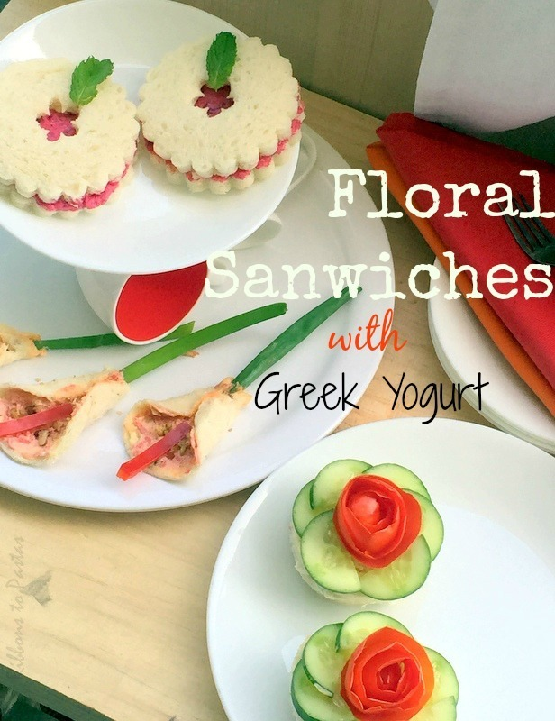 Floral Sandwiches with Greek Yogurt