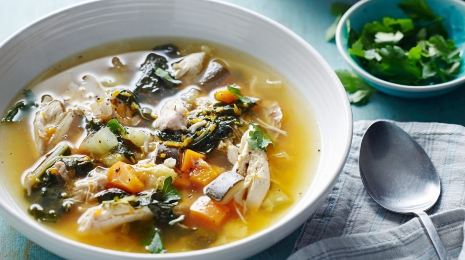 Chicken and vegetable comfort soup paleo recipe