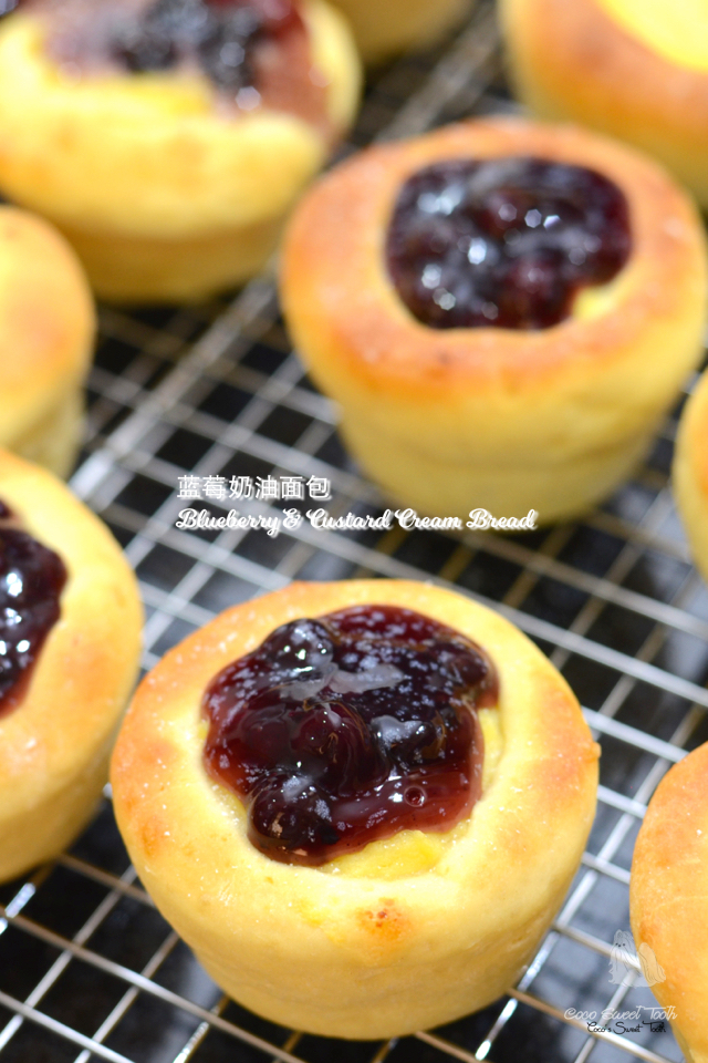 蓝莓奶油面包 Blueberry & Custard Cream Bread