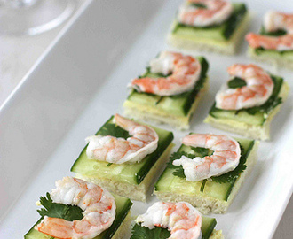 Shrimp, Cucumber & Curry Cream Cheese Canapes Recipe