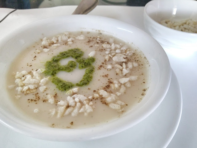 Cauliflower soup with pistou and roasted rice crunch
