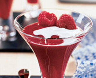 Red Fruit Pudding with Cream