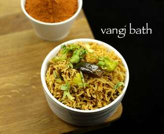 vangi bath recipe | brinjal rice recipe | vangi bhath recipe