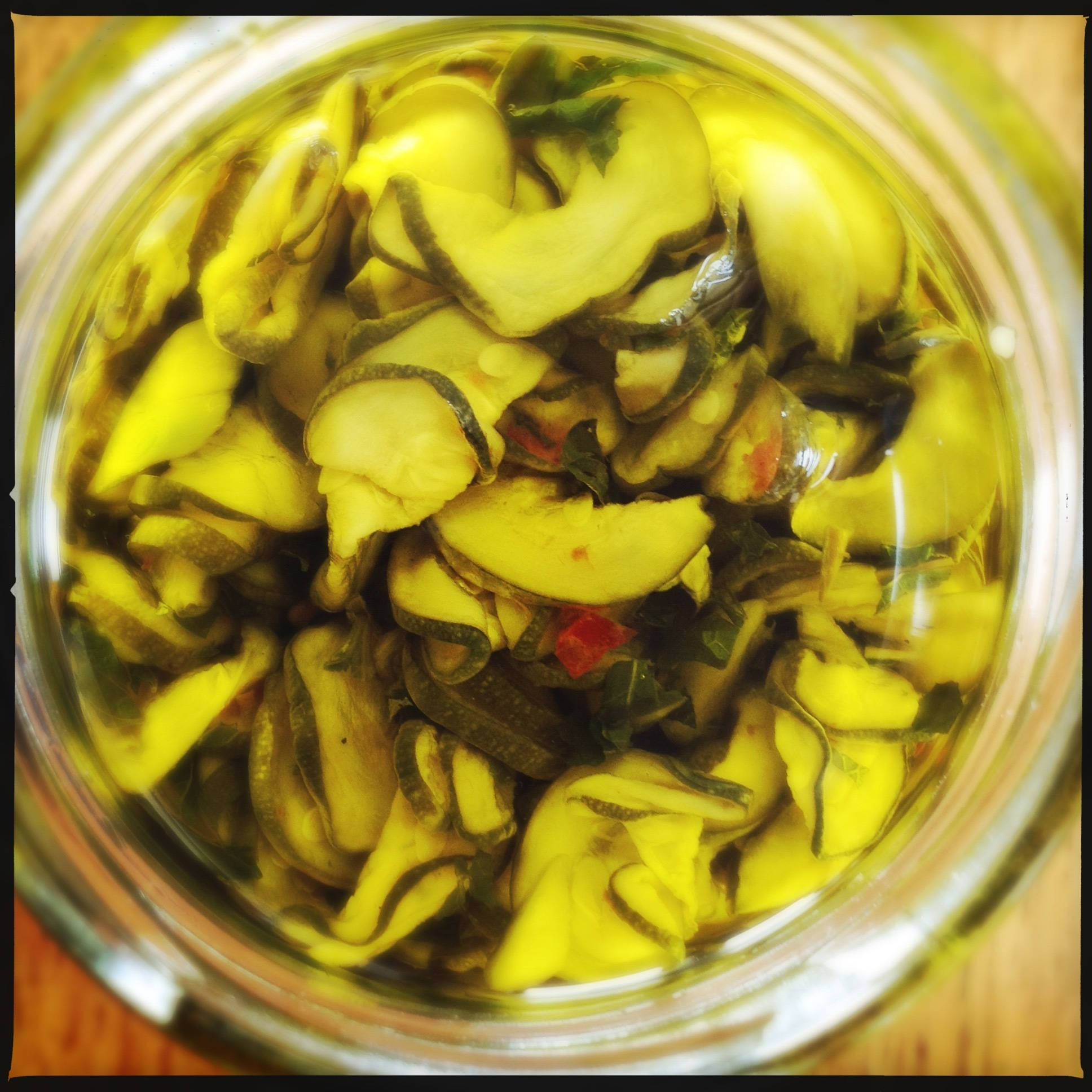 Zucchini Sott'Olio | Zucchini Preserved in Oil with Mint, Chilli and Garlic