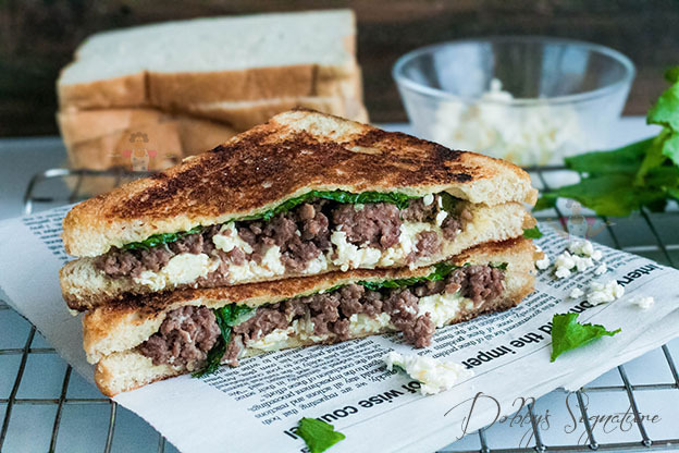 Minced meat sandwich with feta cheese