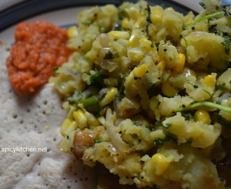 Corn Potato masala | Breakfast menu – oats dosa and corn masala