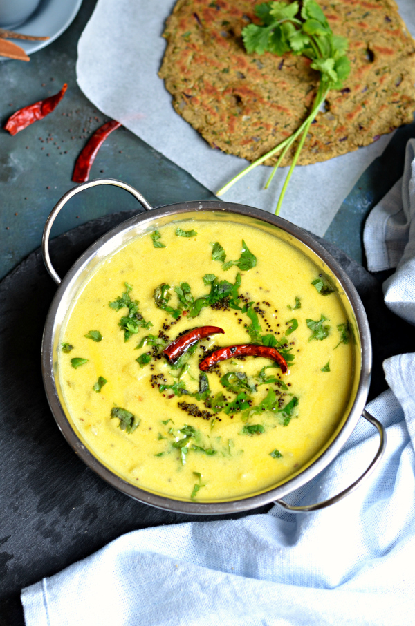 Dahi aloo (no onion garlic recipe)- Chunky potato yogurt soup