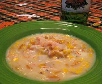 Sweet Corn Chowder With Shrimp and Red Peppers