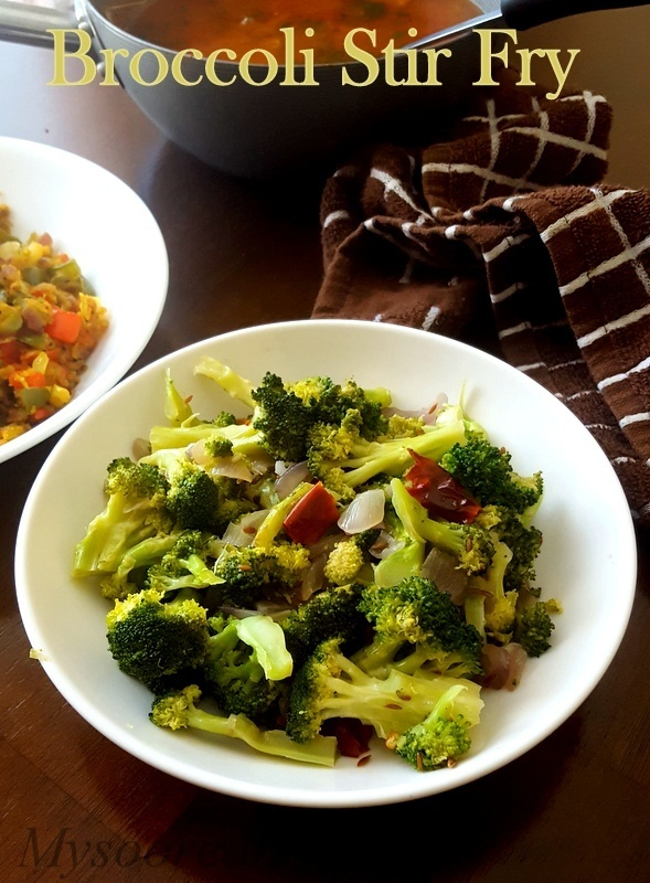 Simple Broccoli Stir Fry, Indian Style