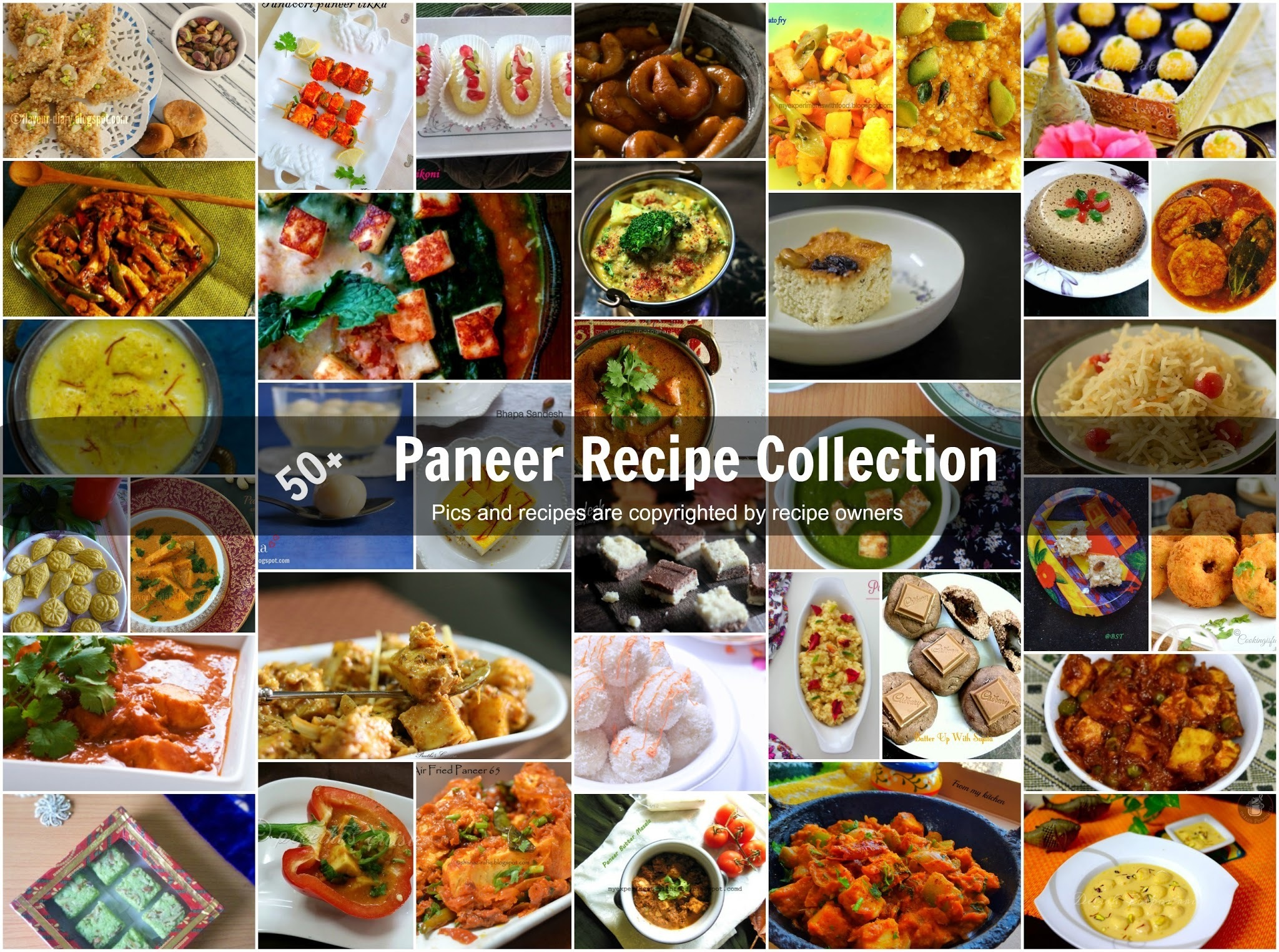 Paneer Recipes | Starter Curries and Dessert recipes | Indian Vegetarian Recipes