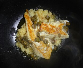 Pan Fried Seabass on Celeriac and Parsnip Mash with a Burnt Butter and Caper Sauce Recipe