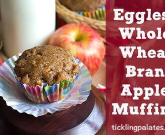 Eggless Organic Whole Wheat Bran Apple Muffins Recipe