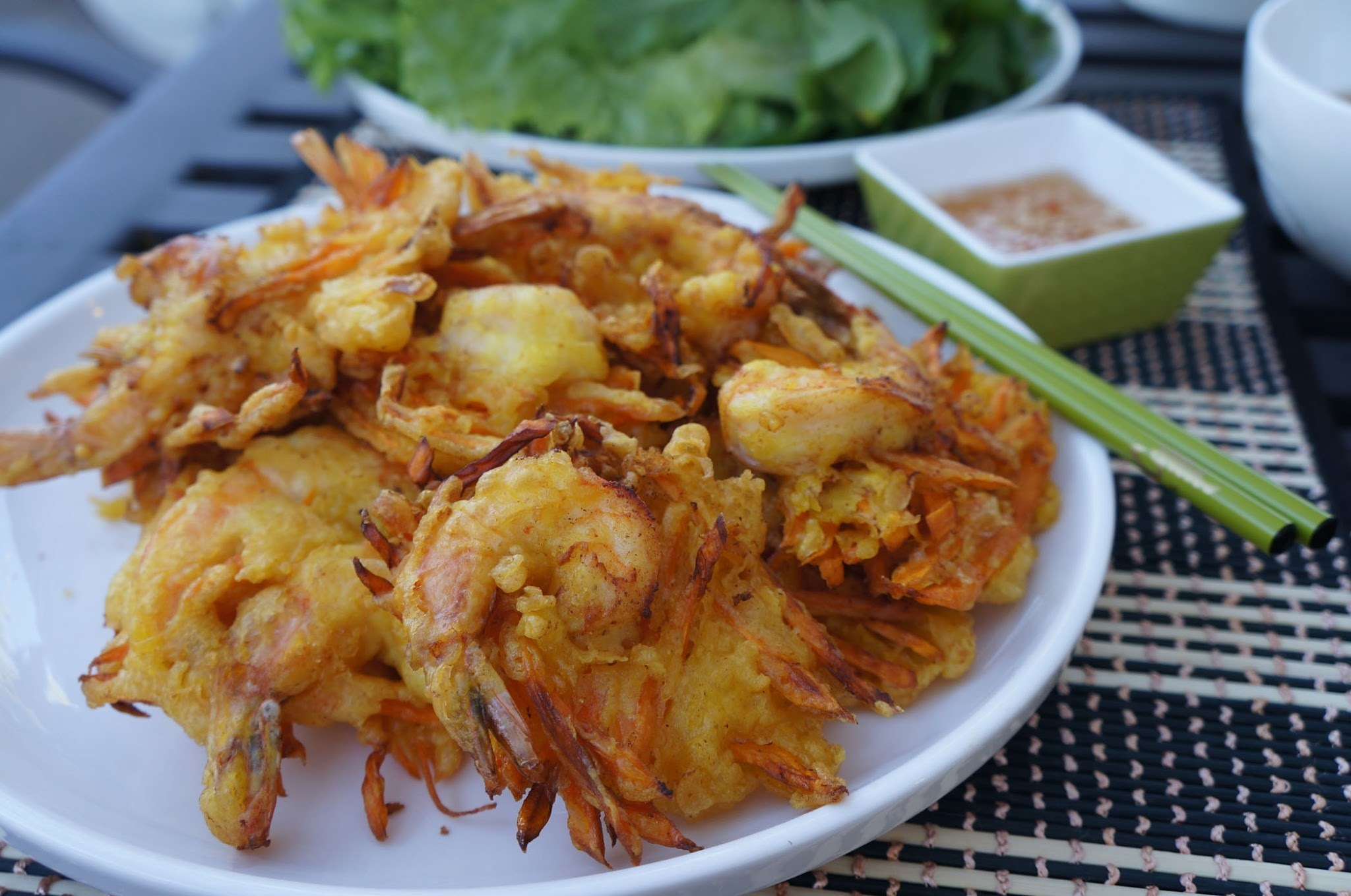 Vietnamese shrimp and sweet potato fritters (Banh tom Co Ngu)