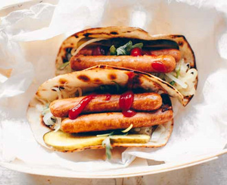 Tortilla hot dog wraps