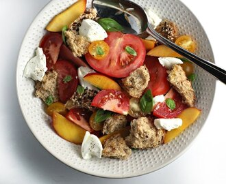 Lately on the Blog: Panzanella Peach Salad, the Best Asian Bowl and Sweet Fried Goat Cheese