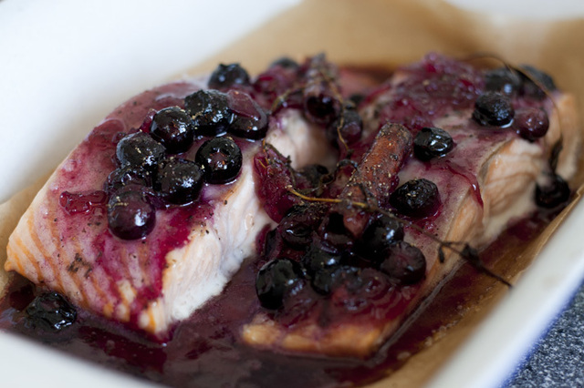 Salmon With Blueberries