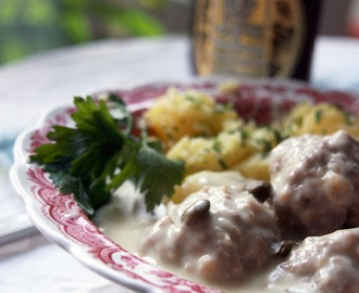 Königsberger Klopse or meatballs in white sauce with capers...