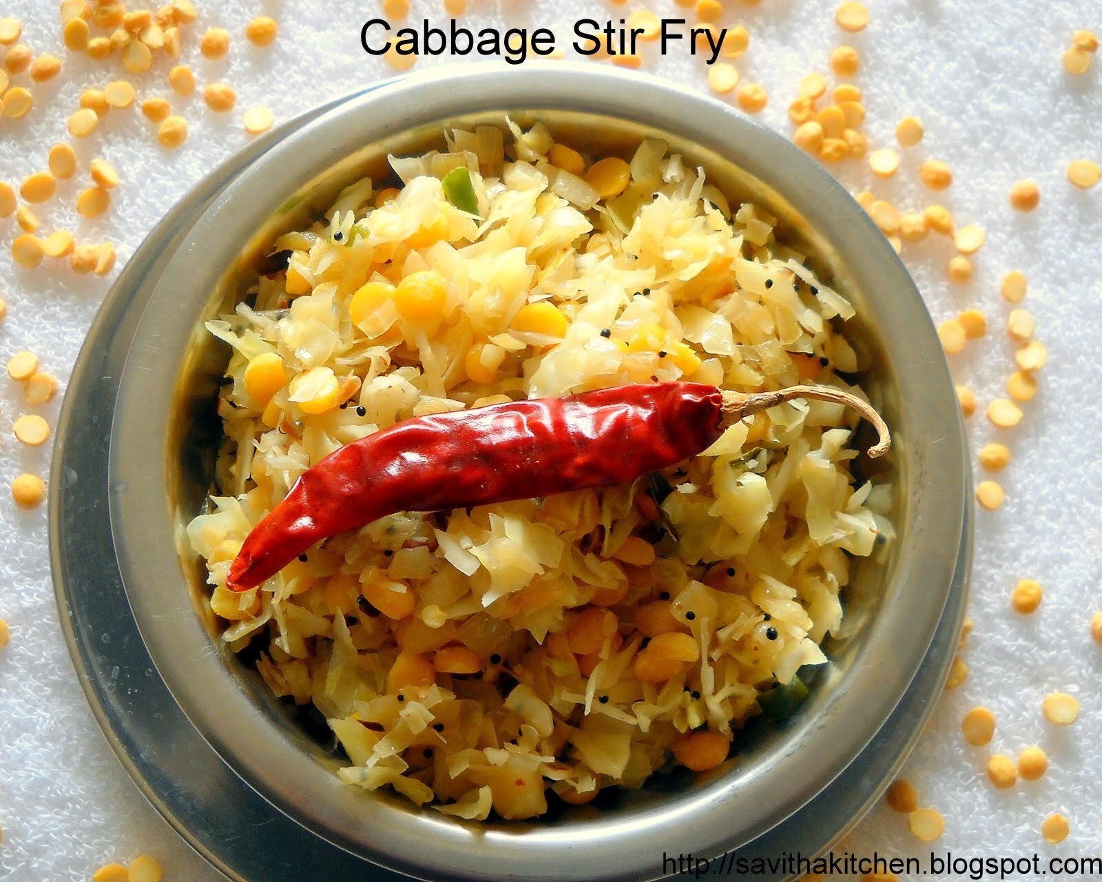 Cabbage Stir fry with chana dal and shredded coconut
