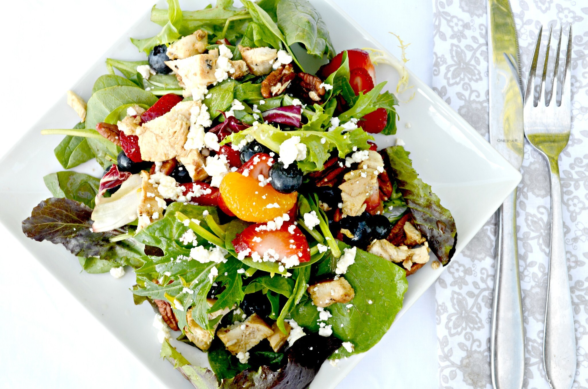 Strawberry Blueberry Chicken Salad With Orange Vinaigrette