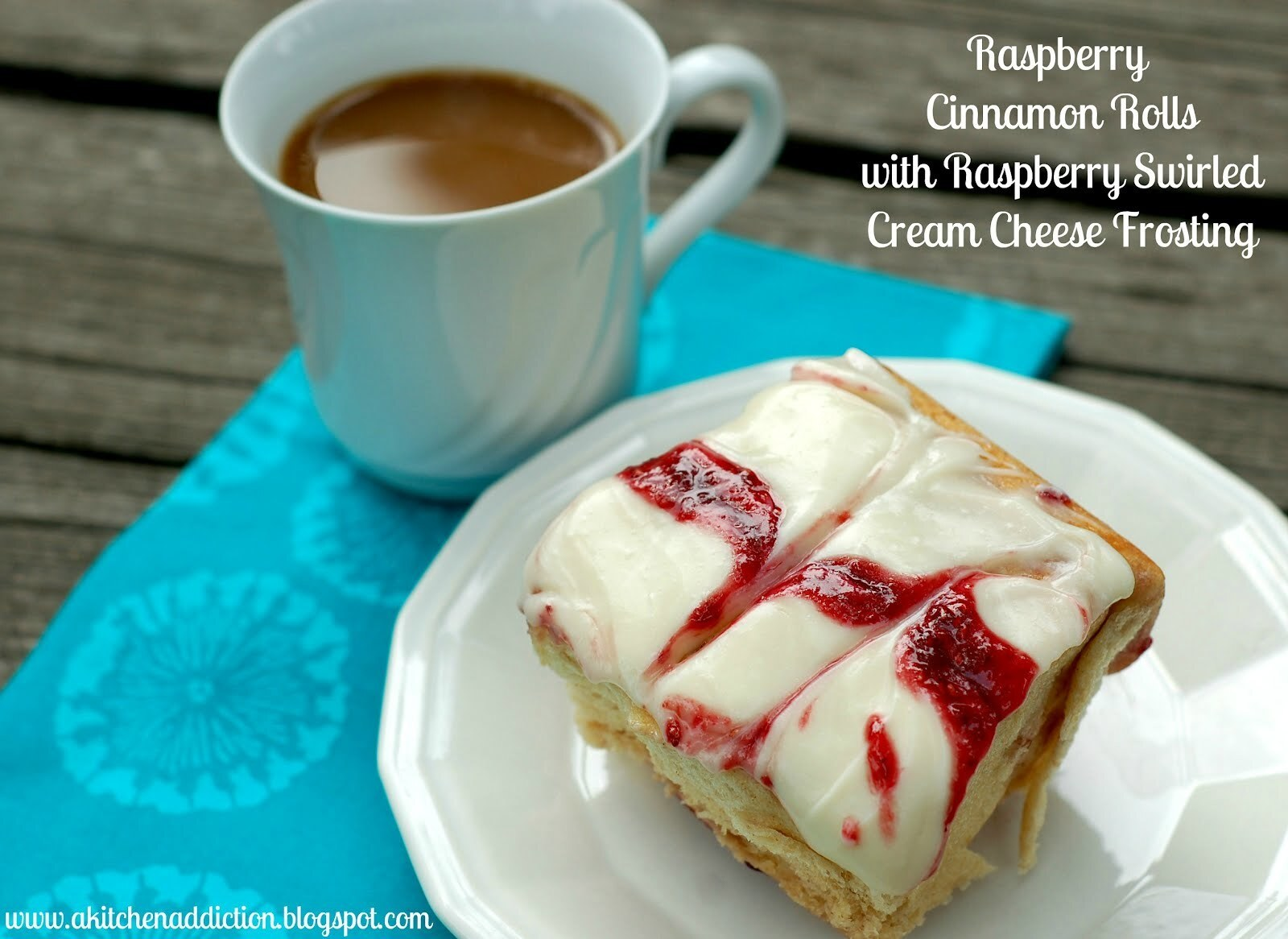 Raspberry Cinnamon Rolls with Raspberry Swirled Cream Cheese Frosting with Jessica from A Kitchen Addiction