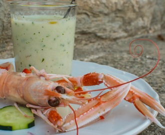 Cold Cucumber Soup with Steamed Scampi
