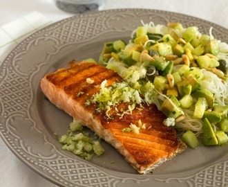 ROAST SALMON WITH SALSA VERDE, NOODLES AND GREMOLADA
