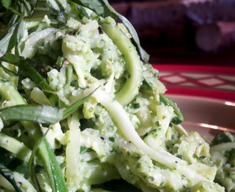Pesto Zucchini Pasta Pile Up! GF, V, BED, SCD!