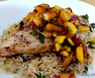Pan Seared Chicken - With Mango Peach Salsa & Cilantro Lime Rice