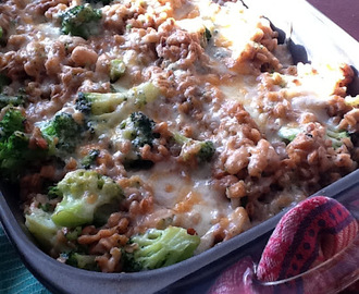 RECIPE: Farro, Broccoli and Cannellini Bean Gratin