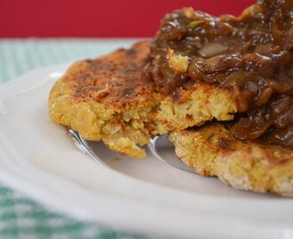 Bean Burgers (or Patties) and Caramelized Onion Sauce