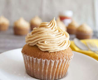 Vanilla and Salted Caramel Cupcakes with a Peanut Butter Surprise!