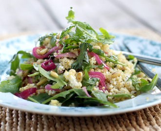 Sprouted Kitchen's Toasted Millet Salad with Arugula, Quick Pickled Onions, and Goat Cheese