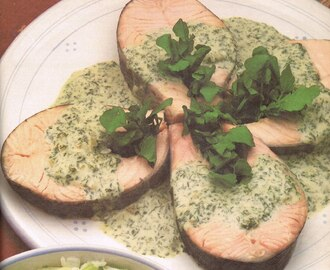 Poached Salmon with Green Sauce/Low-Calorie