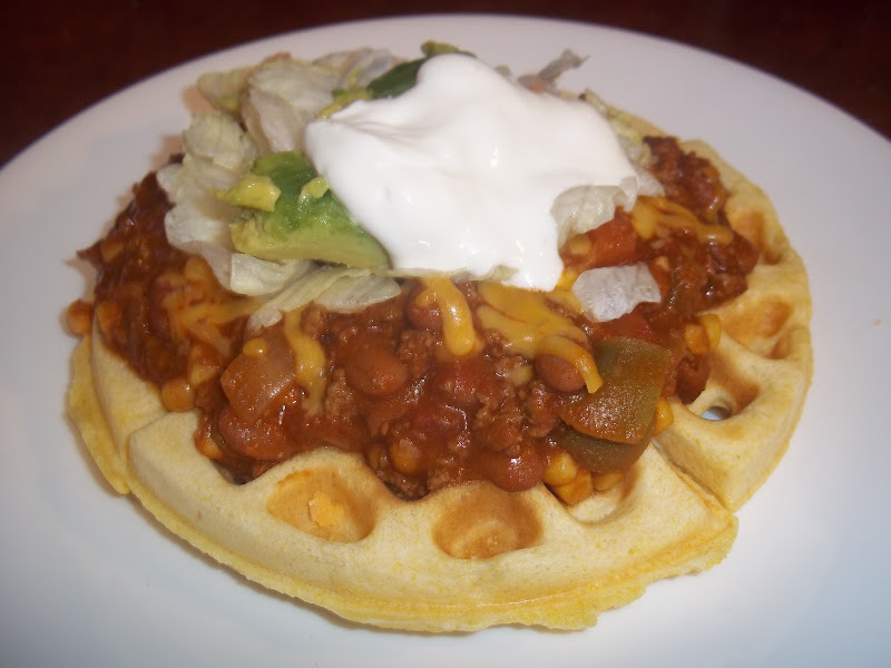 Cornbread Waffles with Spicy Chili