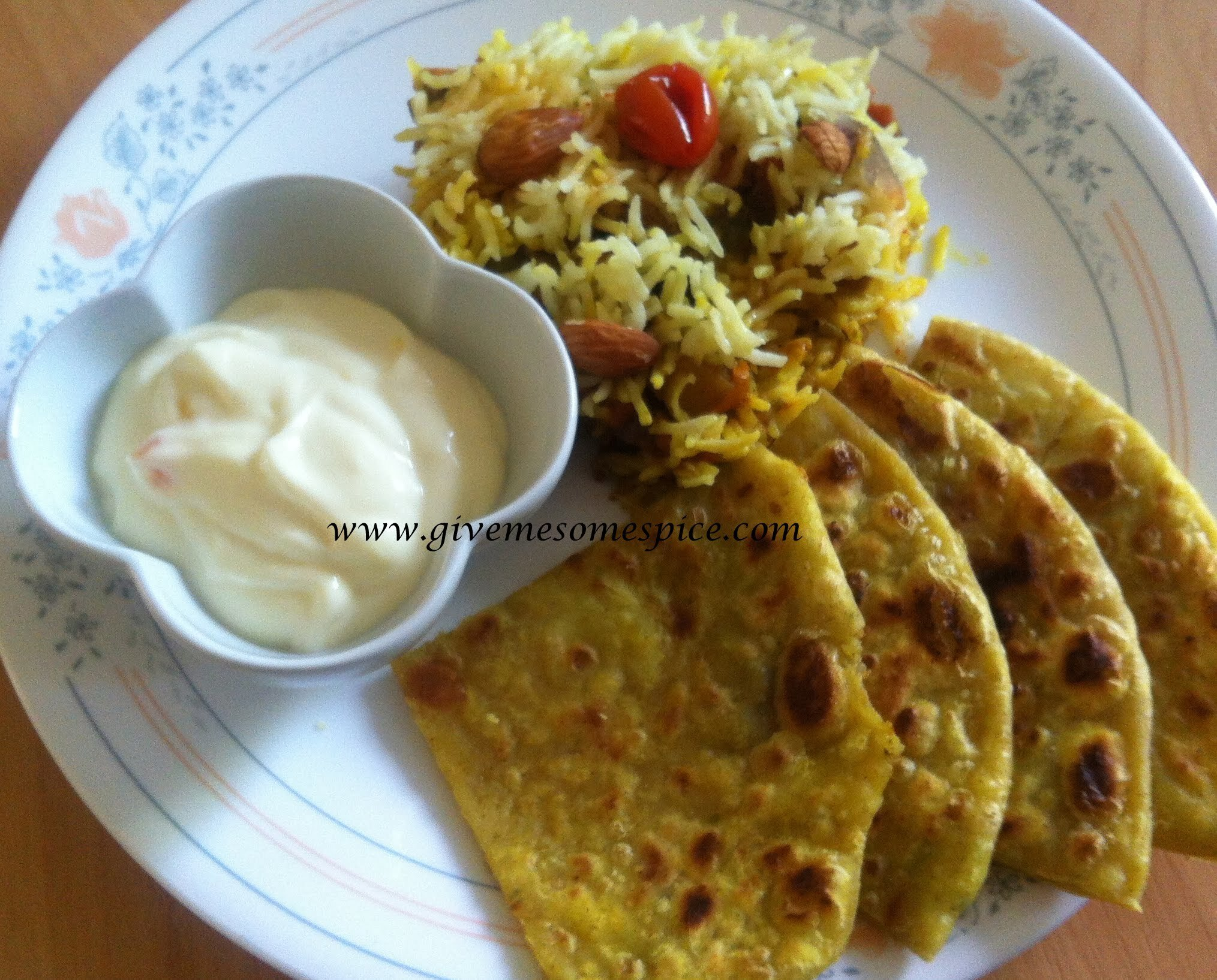 Paneer and cheddar cheese stuffed parathas