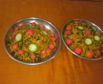 Mixed vegetable pulav - Vegetable rice recipe .