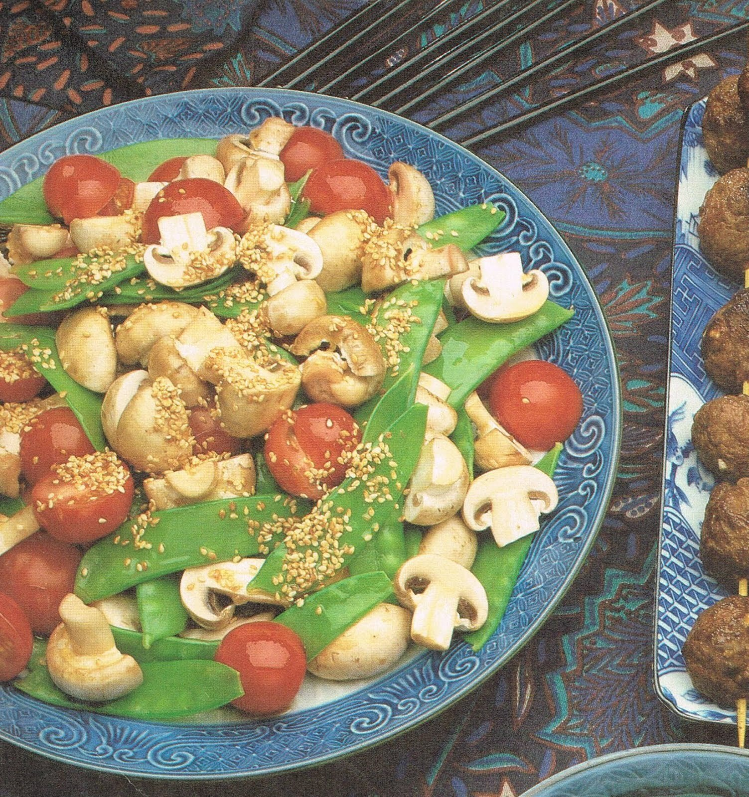 Snow Peas and Mushrooms with Tangy Dressing