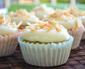 I'm Back!!! with Ganache Filled Banana Cupcakes and Coconut Cream Cheese Frosting